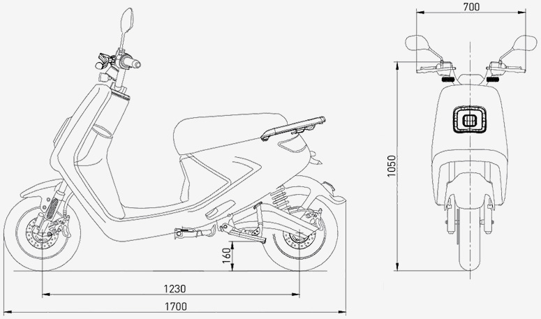 S4 Electric Scooter technical drawing
